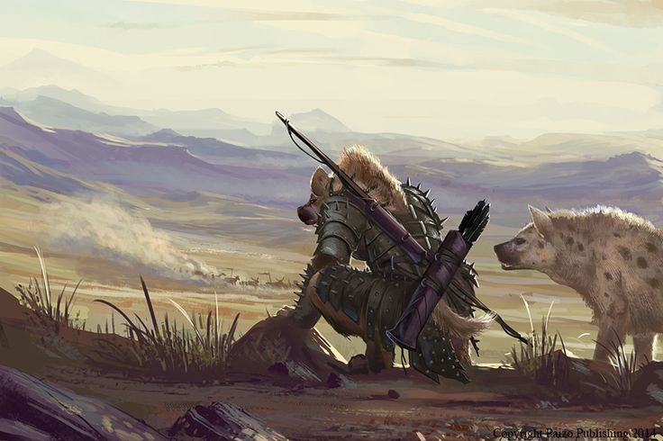 "Gnoll Scout by BenWootten | Digital Art / Drawings & Paintings / Illustrations / Storybook | Fantasy creature beastfolk bestial race | Author's note: ""The foreshadowing of another missing merchant caravan.  Pathfinder RPG, Paizo Publishing 2014."""