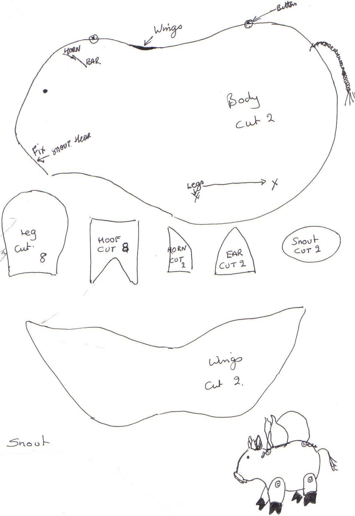 Pig Jpg 1150 1670 Felt Pattern Pig Plushie Free Sewing