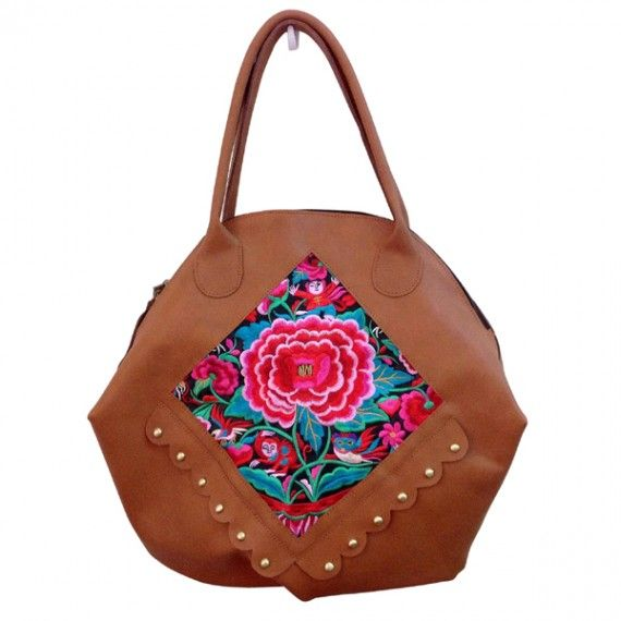 Boho Chic Leather Tote Featuring Authentic Hmong Embroidery And
