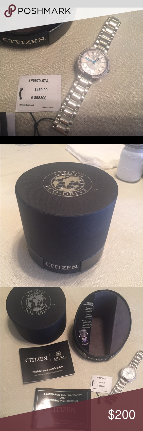 NEW citizen Eco watch Beautiful citizen watch. Tag still attached- original box, comes with warranty and all links. Citizens of Humanity Accessories Watches