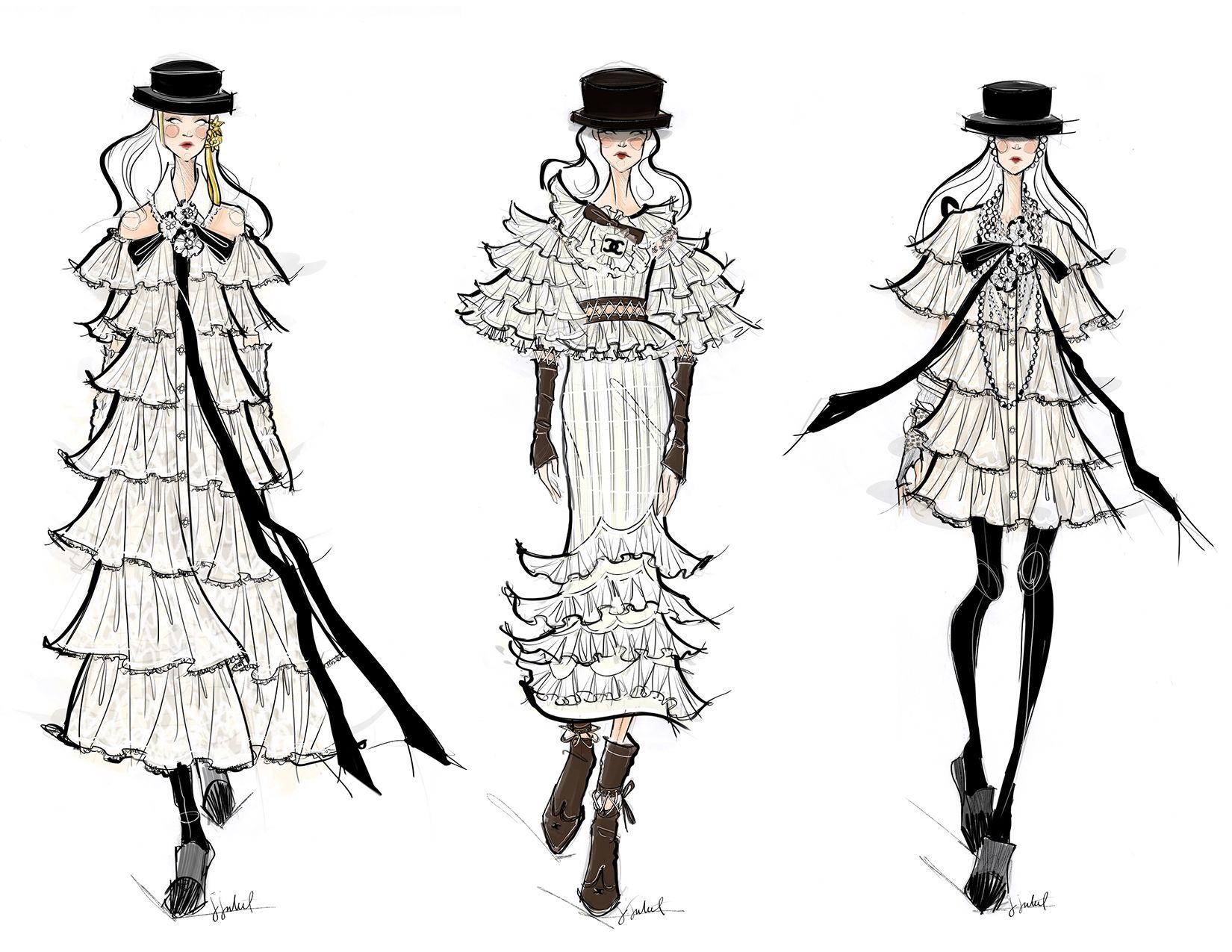 Figurines de moda de la colección CHANEL FALL / WINTER 2016 creados por Jessica Juliet  www.jessicajuliet.com // www.figurinesdemoda.com