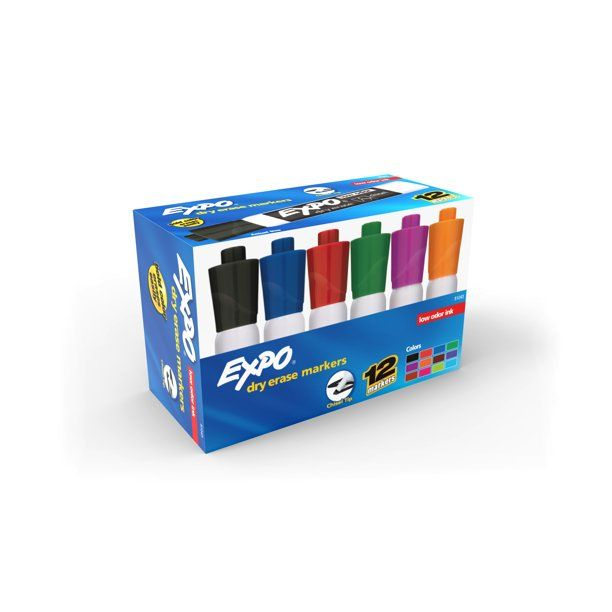 Expo® Low Odor Dry Erase Markers, Chisel Tip, Assorted Colors, Box of 12