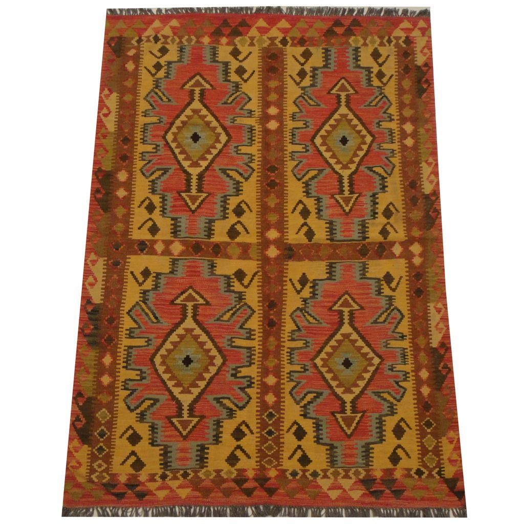 Herat Oriental Afghan Hand-woven Tribal Wool Kilim (4'7 x 6'9) (Handmade Tribal Wool Kilim), Brown, Size 4' x 6' (Natural Fiber, Geometric)