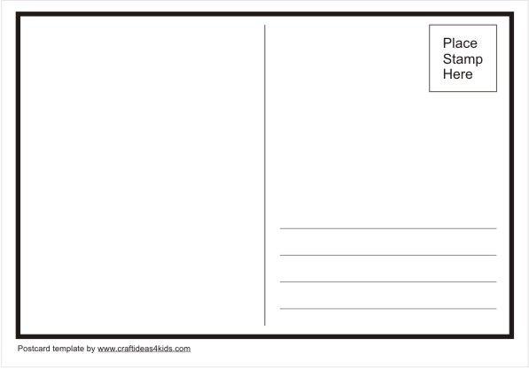 Postcard Template Craft Ideas For Kids Printable Postcards Make Your Own Postcard Postcard Template