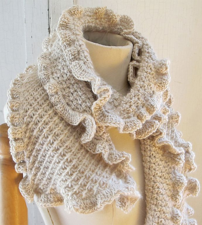 Knitting Pattern for Ruffle Scarf - Scarf knit with cluster daisy ...