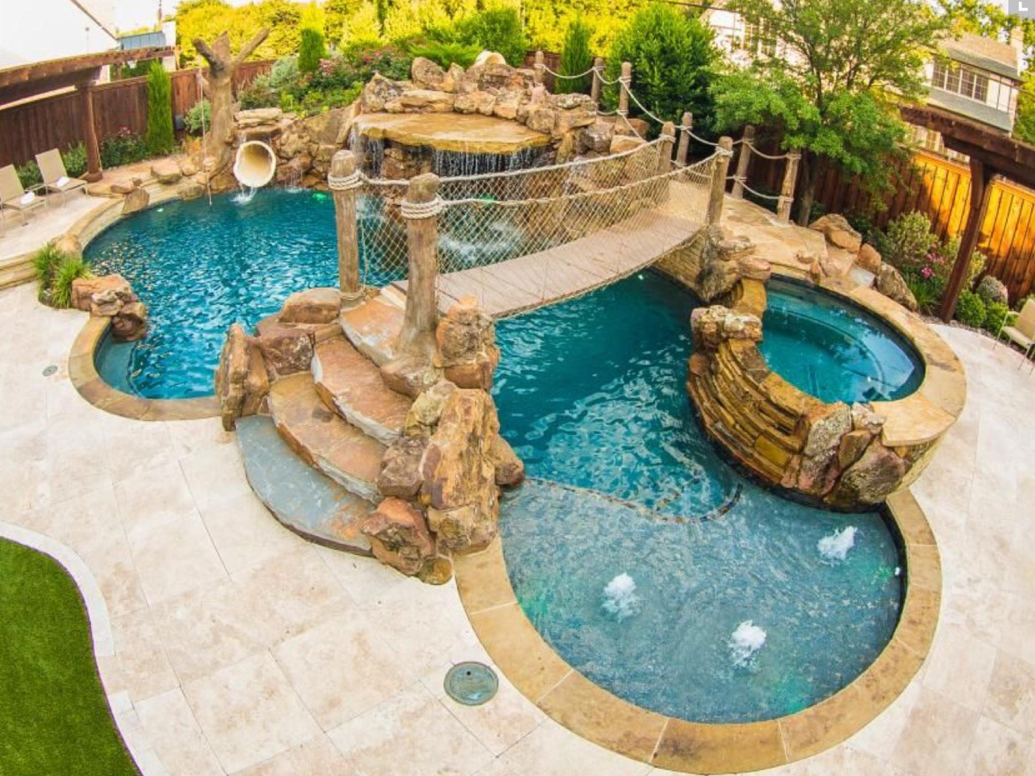 Dream Pool With Bridge Wade In Area Jacuzzi And Slide Dream Pools Backyard Pool Tropical Backyard