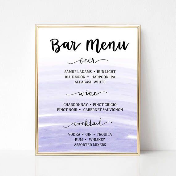 Watercolor Bar Menu Template (beer, wine, cocktail) - Editable - bar menu template