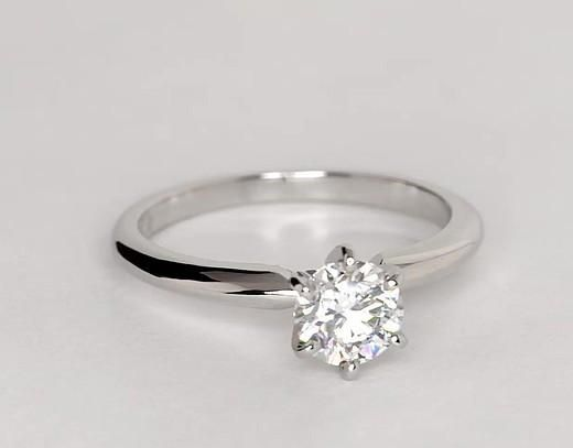 A Classic 1ct Round Cut Solitaire Russian Lab Diamond Engagement