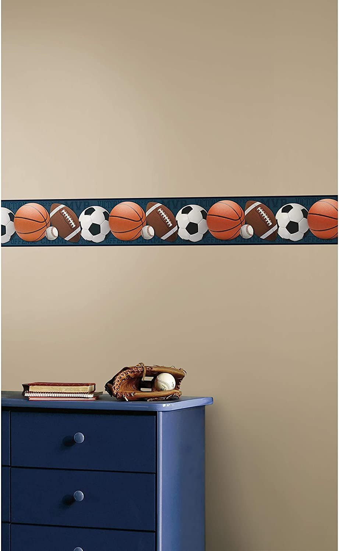 Wallpaper Borders For Bedroom Roommates Sports Balls Peel And Stick Wallpaper Border Removable