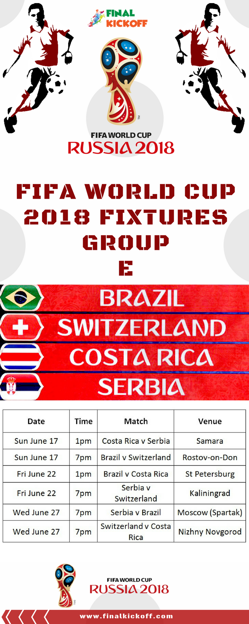 Fifa World Cup 2018 Match Schedule Group E World Cup World Cup 2018 Fifa