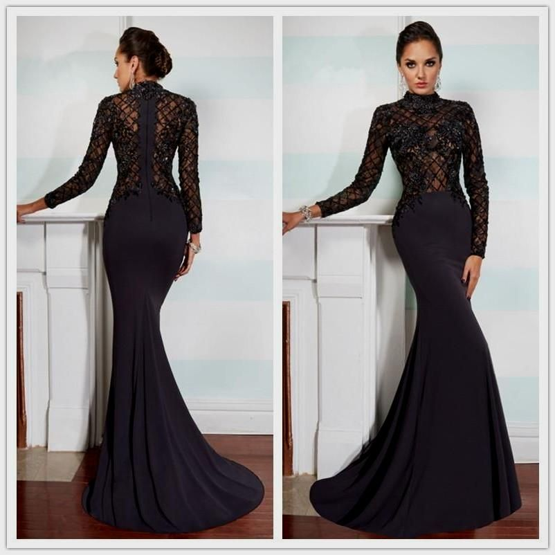 Black Lace Prom Dresses, High Neck Long Sleeves Prom Dress,A Line ...