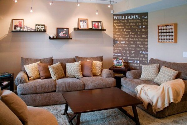 small basement ideas family room sofas small table small shelves decorative pillows