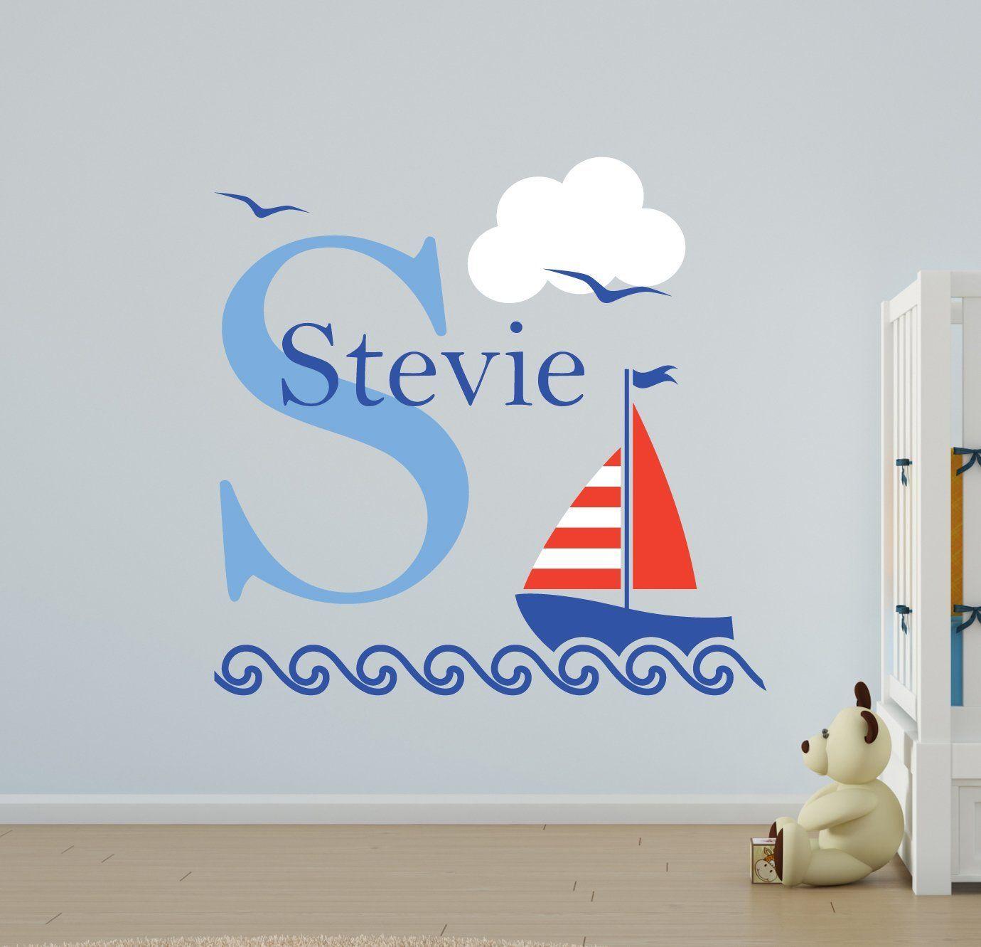 V&C Designs Nautical Sailing Boat Name Wall Stickers Girls Room Boys ...