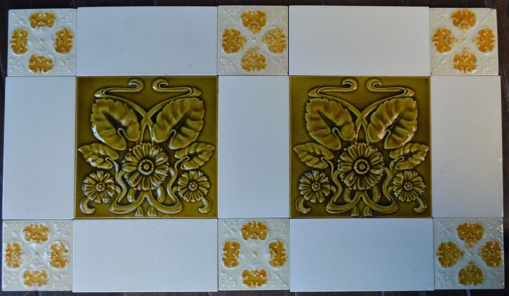 EUROPEAN ANTIQUE ART NOUVEAU MAJOLICA 15-SET TILE C1900 | орнамент ...