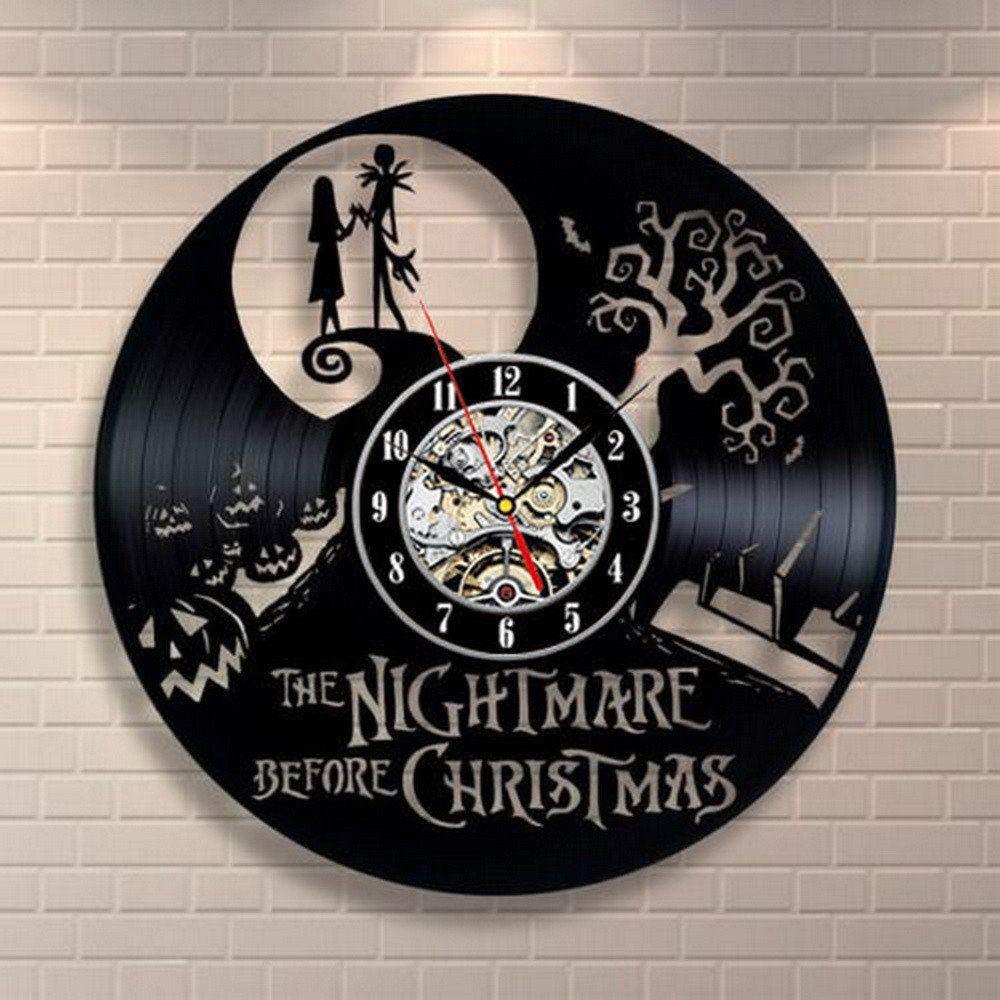 Nightmare Before Christmas Jack & Sally Vinyl Record Clock | Clocks ...
