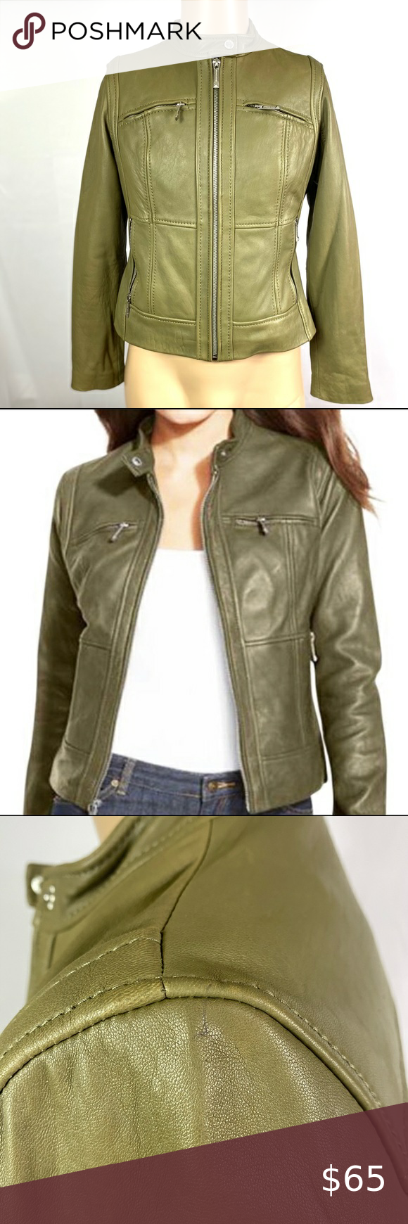 Michael Kors Olive Green Leather Jacket Gently Used Has A Small Pen Mark On The Shoulder Pleas Green Leather Jackets Olive Green Leather Jacket Leather Jacket [ 1740 x 580 Pixel ]