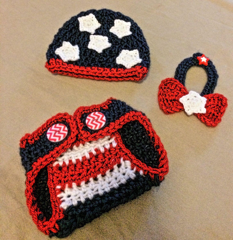 Patriotic Newborn Crochet Prop Prop Newborn