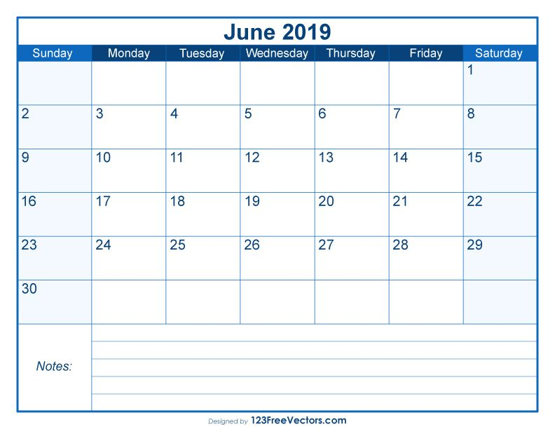 Blank Printable June Calendar 2019 2019 Calendar Calendar, 2019