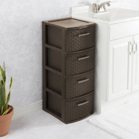 Sterilite 4 Drawer Weave Tower Espresso Brown Drawers Tall