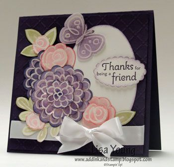 Flower Fest Square Card By Genesis Cards And Paper Crafts At Splitcoaststampers Flower Cards Greeting Card Craft Homemade Cards