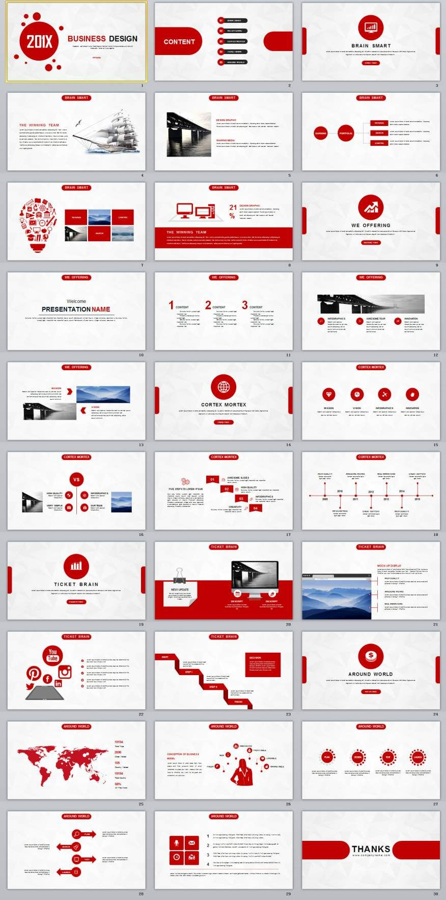 30 red creative business design powerpoint template powerpoint