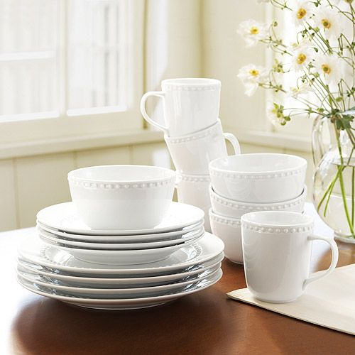 Canopy beaded white dinnerware. Simple, inexpensive, and holds up ...