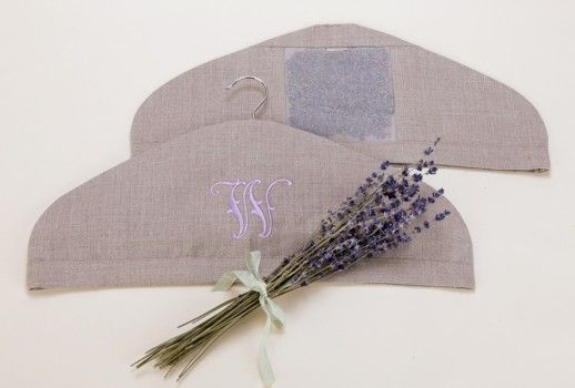 Personalized Monogrammed Linen and Lavender Hanger Cover ...