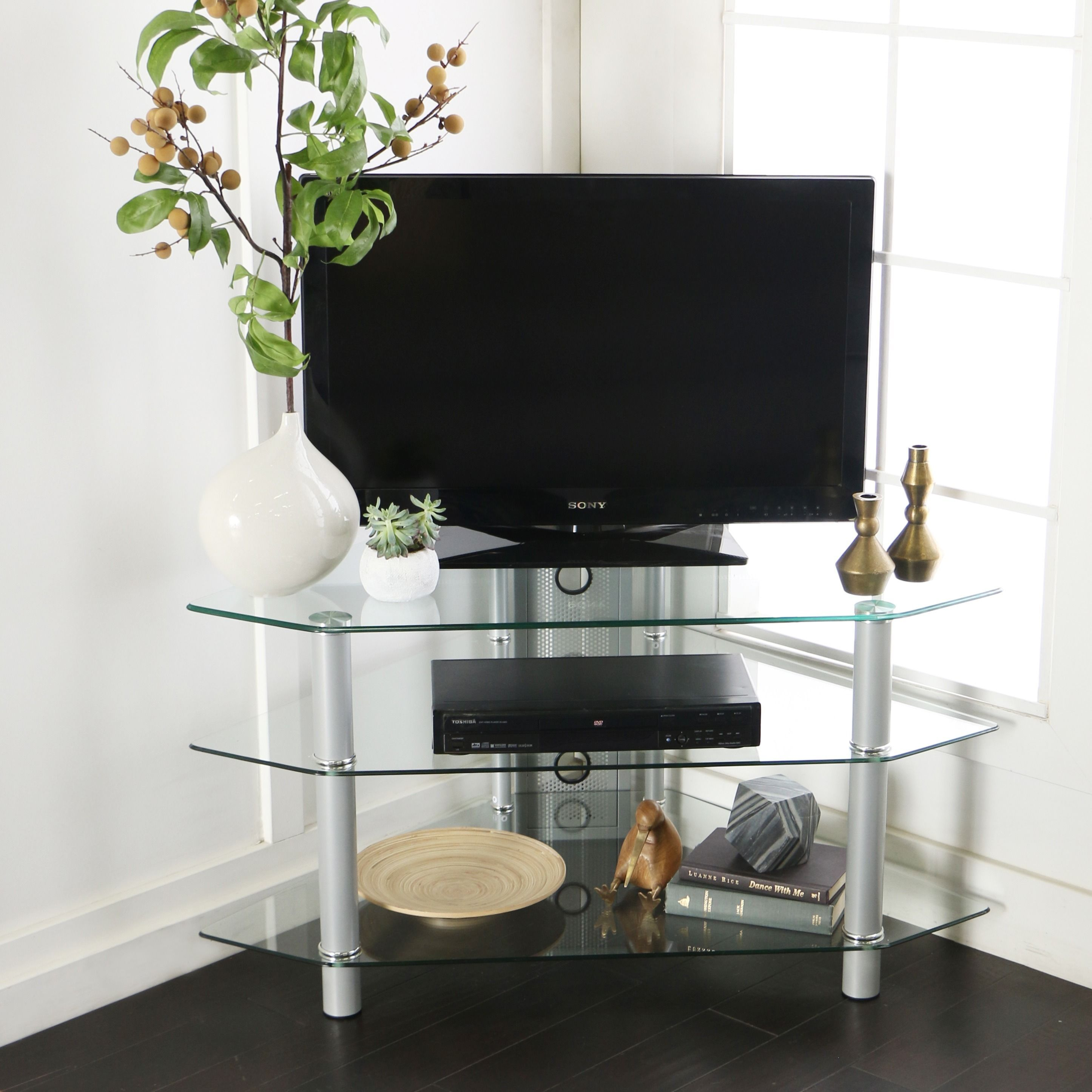 Walker Edison Glass Metal 44 Inch Corner Tv Stand Clear Products