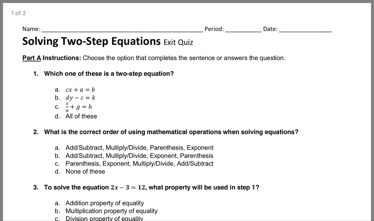 Pin By Dana Casey On 7 Math Two Step Equations Equations Sentences