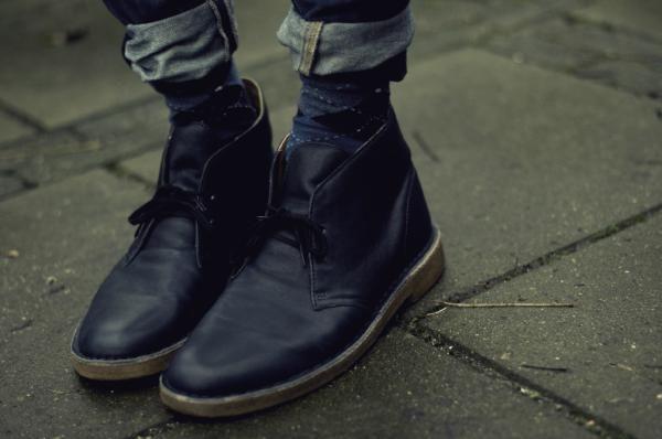 Clarks Desert Boots in black leather via David Van Dartel