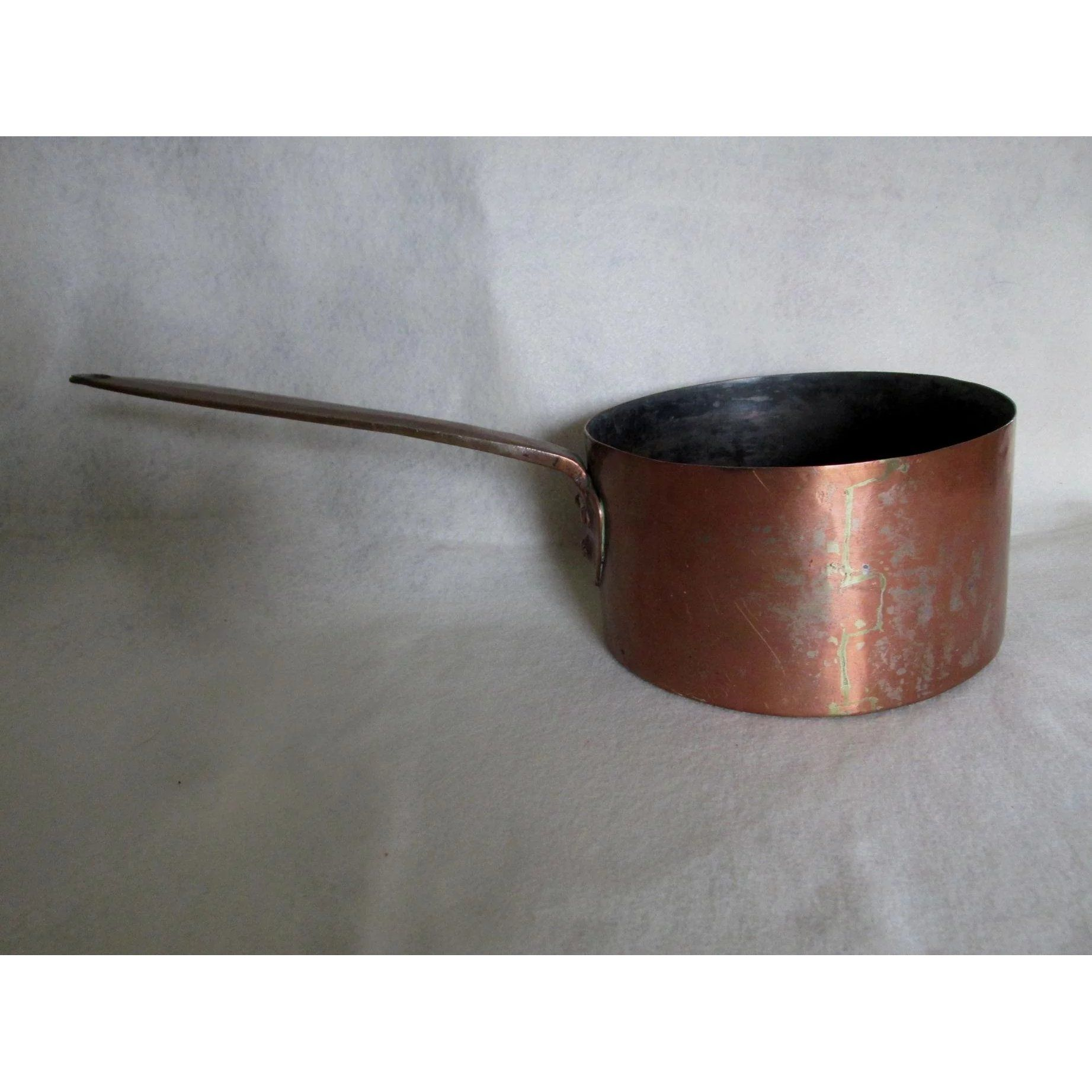 Antique hand made french copper pot dovetailed