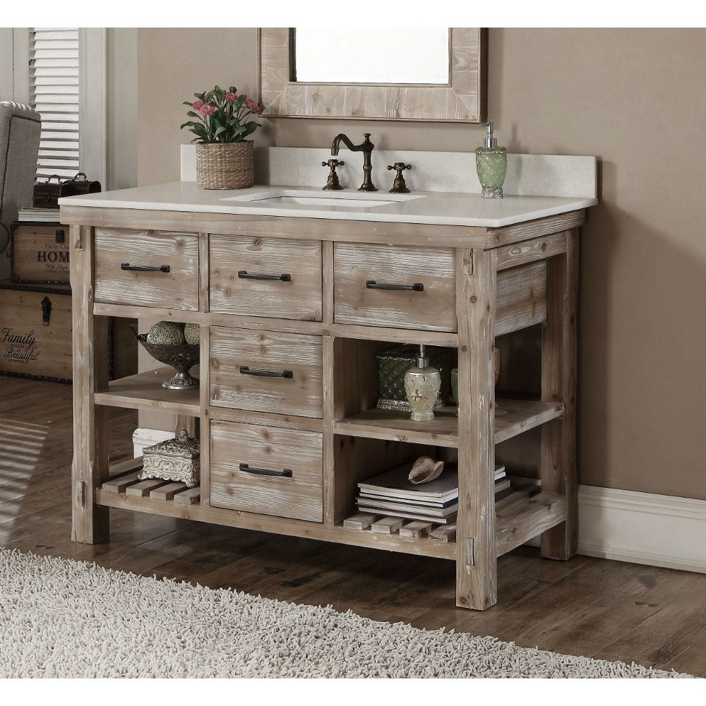 Accos 48 inch Rustic Bathroom Vanity Matte Ash Grey Limestone Top with Matching Wall Mirror White ceramic sink Driftwood Finish