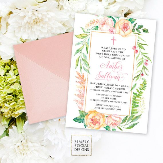 Floral Holy Communion Invitation  Blush Pink Personalized Custom
