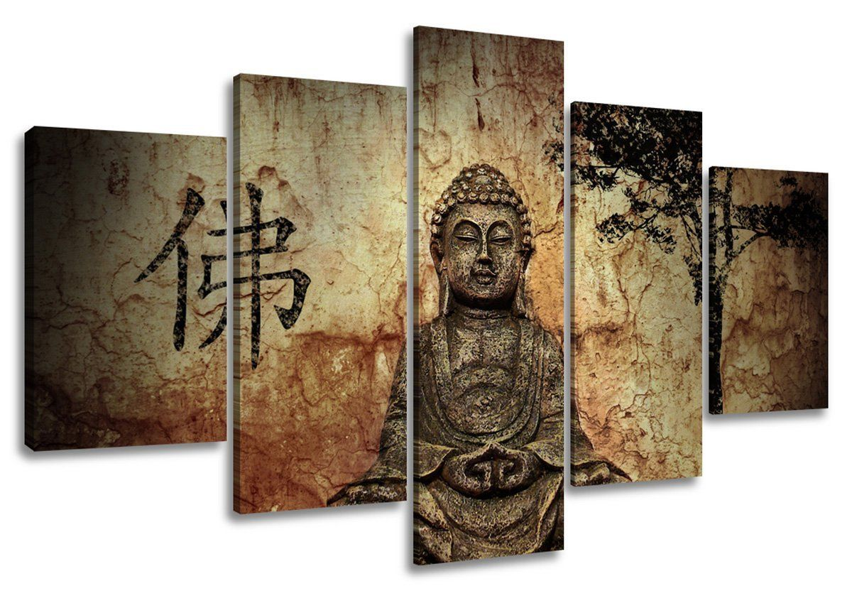 tableau sur toile motif bouddha 5 pi ces 160 cm cuisine maison projets. Black Bedroom Furniture Sets. Home Design Ideas