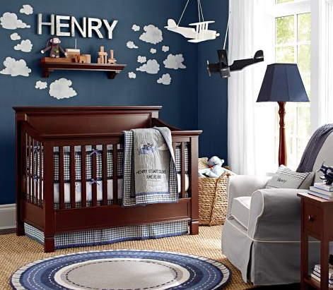 Baby Boy Nursery Ideas And Inspiration Cot Decor Fantastic Themes For Boys Clouds In The Sky Dark Blue Navy Walls With Puffy Painted White
