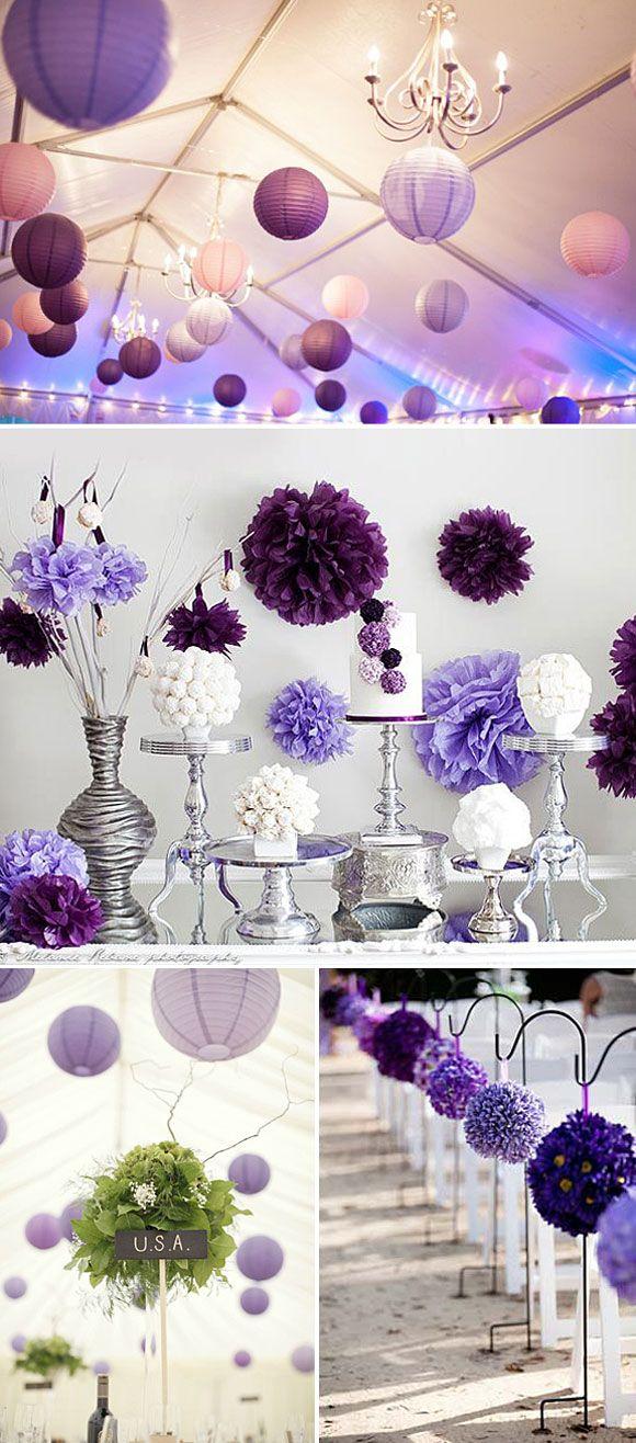 37 ideias para decorar com pompons de papel de seda - Decoraciones de papel ...