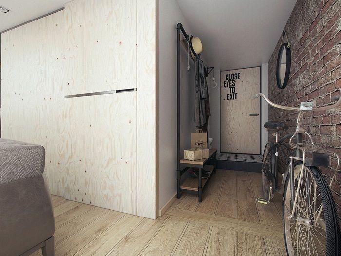 Kleines apartment design für ein junges paar mit minimalistischen