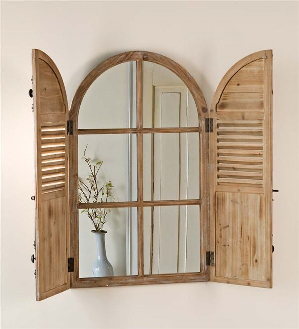 Main Image For Distressed Wood Frame Mirror With Shutter Doors Wood Framed Mirror Shutter Mirror Distressed Wood Frames