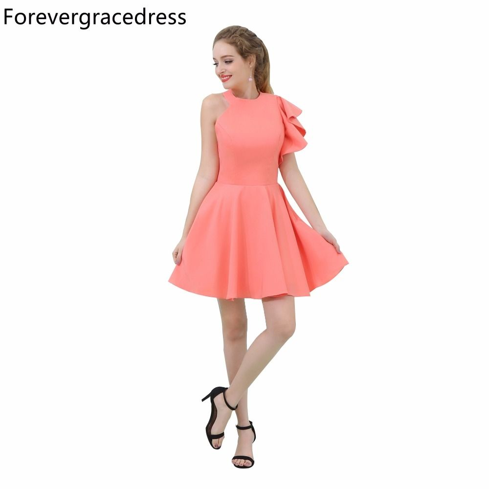 Forevergracedress Real Picture Coral Color Cocktail Dress High Neck