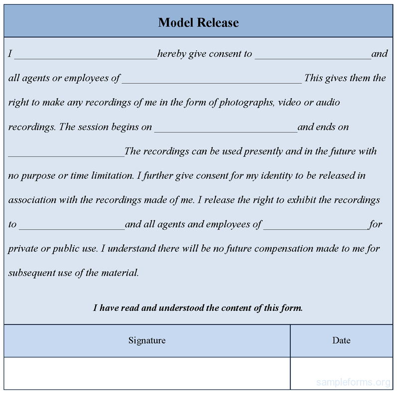 Photo Release Form Template  Download Editable Model Release Form