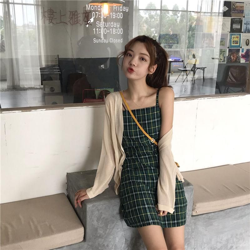 Fashion Sleeveless Mini Dress Summer Hipster Plaid Strap Slim Fit Women Fairy Green Color Sweet Preppy Suspender Dresses