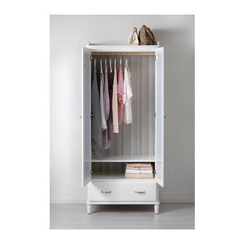 TYSSEDAL Kleiderschrank, weiß, Spiegelglas 88x58x208 cm weiß
