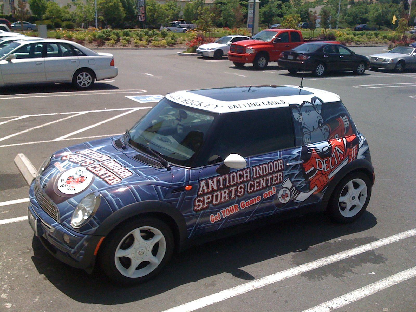 Mini cooper wrap for antioch indoor sports vehicle wrapsmini cooperswrappingindoor