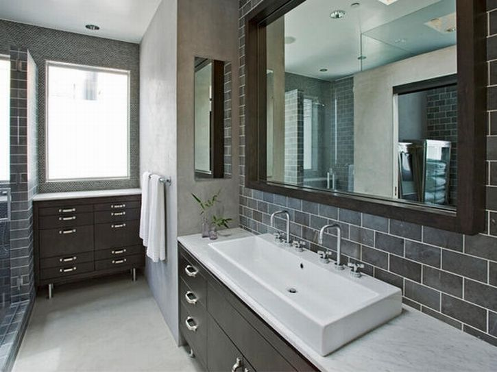 Awesome Home Design And Interior Design Gallery Of Awesome Grey Subway Tile Bathroom  With White Wall Paint