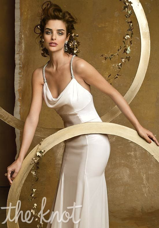 Gown Features Rhinestone Straps And Cowl Neckline