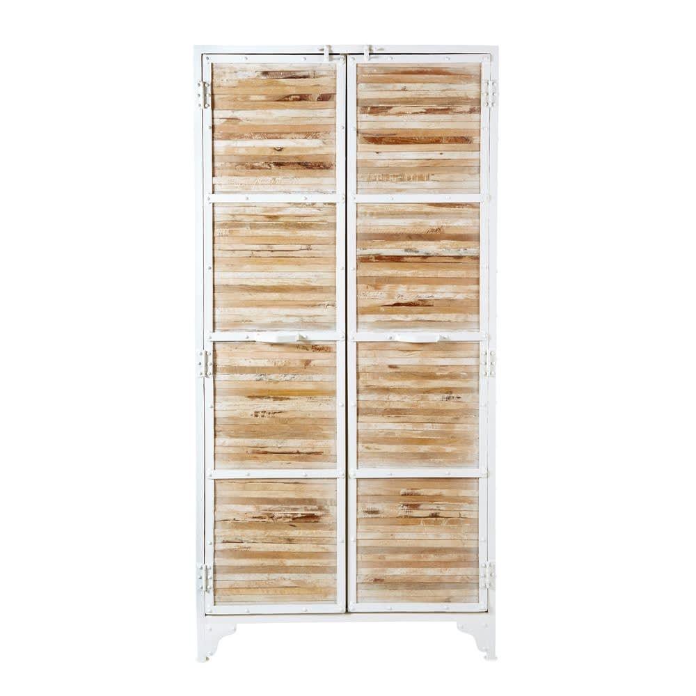 Schrank Aus Weissem Metall Und Recyceltem Holz Wiederverwertetes