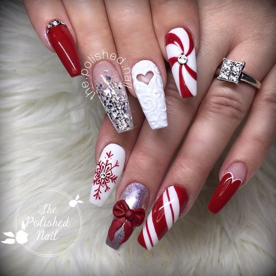 70 Pretty Festive and Winter Nail Art Designs – page 40 - Fab Wedding Dress, Nail art designs, Hair colors , Cakes