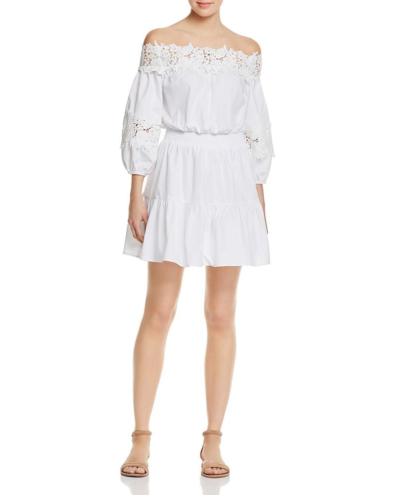 88.00$  Buy now - http://vievh.justgood.pw/vig/item.php?t=mge6q3127775 - AQUA Lace Trim Off-The-Shoulder Dress - 100% Exclusive 88.00$