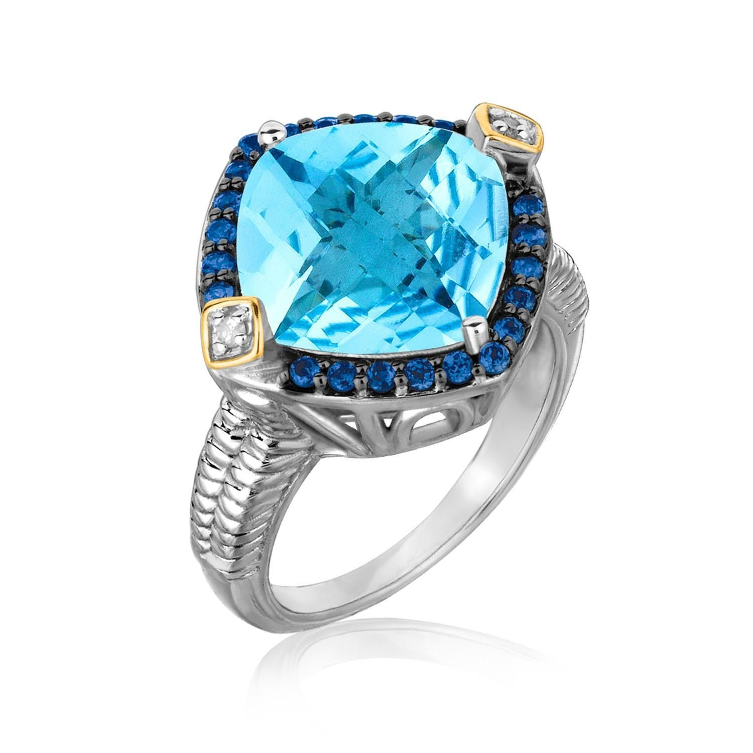 18K Yellow Gold and Sterling Silver Cushion Blue Topaz, Iolite, and Diamond Ring