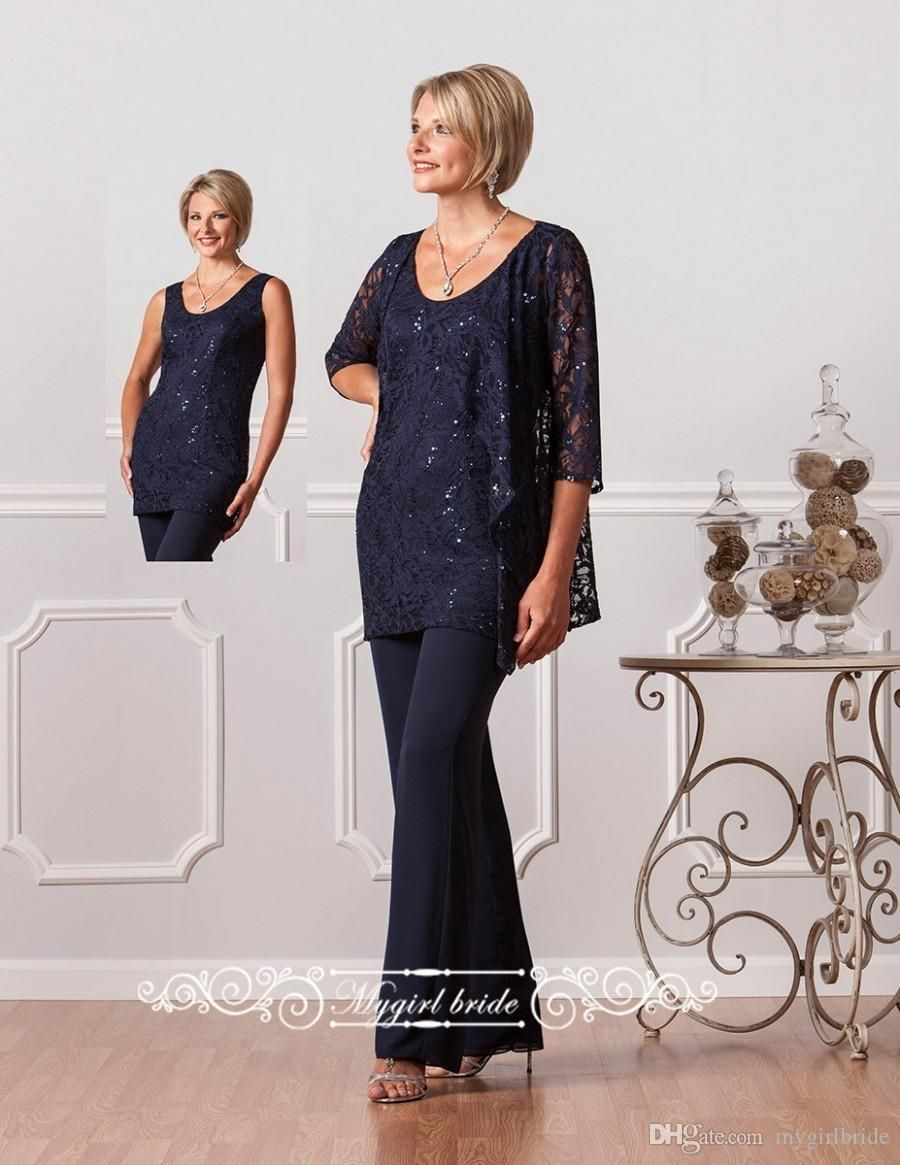 Navy Blue Lace Women Chiffon Pants Suit Wedding Formal Mother Of The Bride Pant Suits Designer